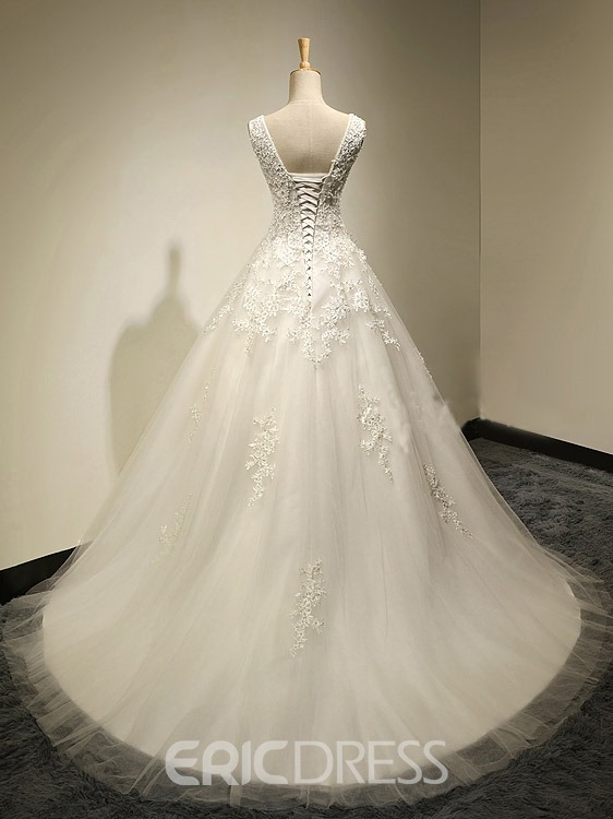 Ericdress Scoop Neck Appliques Lace Up Wedding Dress