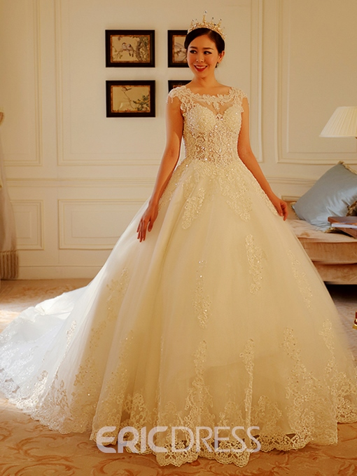 Ericdress Appliques Beading Cathedral Train Wedding Dress