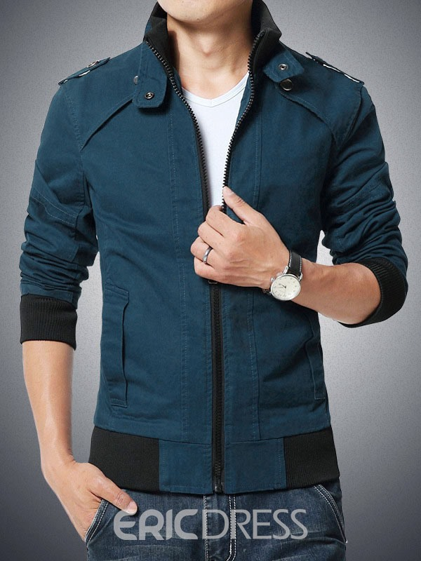 Ericdress Plus Size Zip Stand Collar Men's Jacket