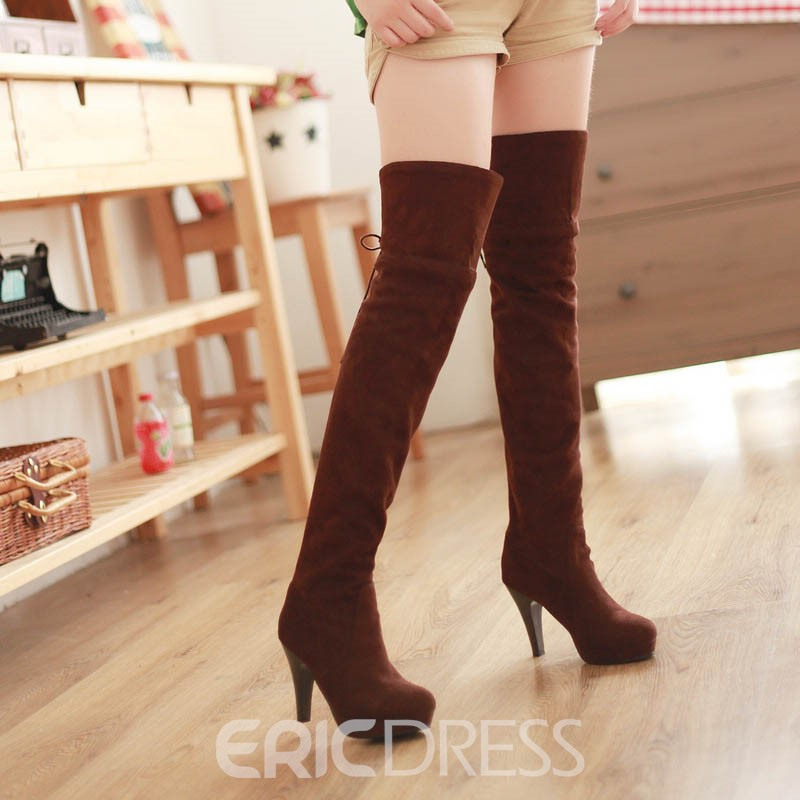 Ericdress Short Floss Back Lace-Up Over-the-Knee Women's Boots