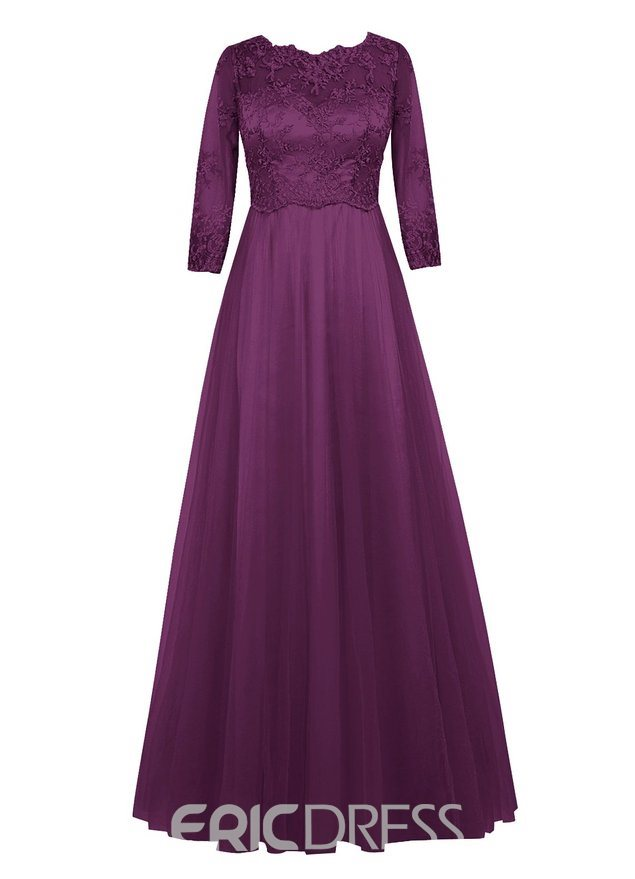 Ericdress Lace A Line Half Sleeves Jewel Mother of the Bride Dress