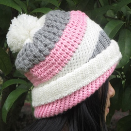 Ericdress Candy Color Stripe Pom Pom Hat