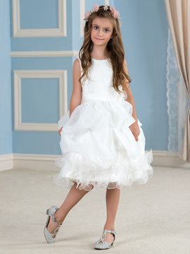 Ericdress Ruffles Knee-Length Lace Flower Girl Dress