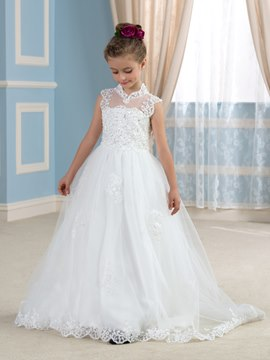 Ericdress Cute High Neck Appliques Flower Girl Dress