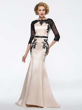 Ericdress Mermaid 3/4 Length Sleeves Appliques Jewel Mother of the Bride Dress