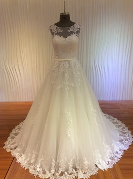 Ericdress Charming Scoop Appliques Lace Up Wedding Dress