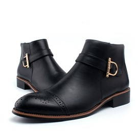 Ericdress Brogue Point Toe Men's Ankle Boots
