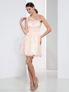 Ericdress Beautiful One Shoulder Lace Bridesmaid Dress
