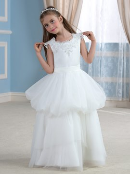 Ericdress Beautiful Jewel Cap Sleeves Flower Girl Dress