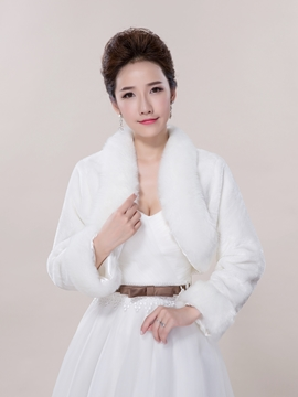 Ericdress Elegant Long Sleeves Faux Fur Wedding Jacket