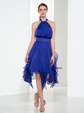 Ericdress Halter Pleats Ruffles Asymmetry Cocktail Dress