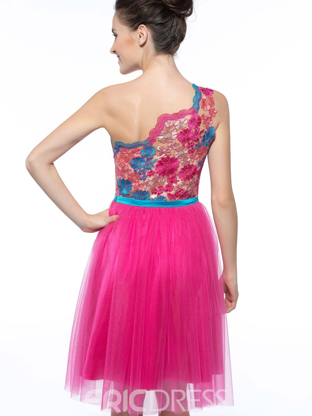 Ericdress One Shoulder Appliques Short Cocktail Dress