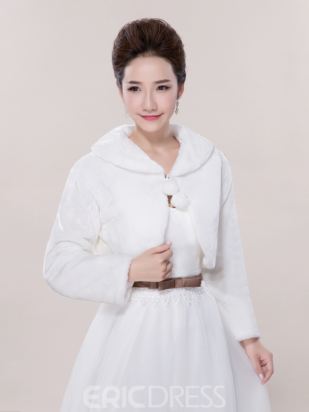 Ericdress Pretty Long Sleeves Faux Fur Wedding Jacket