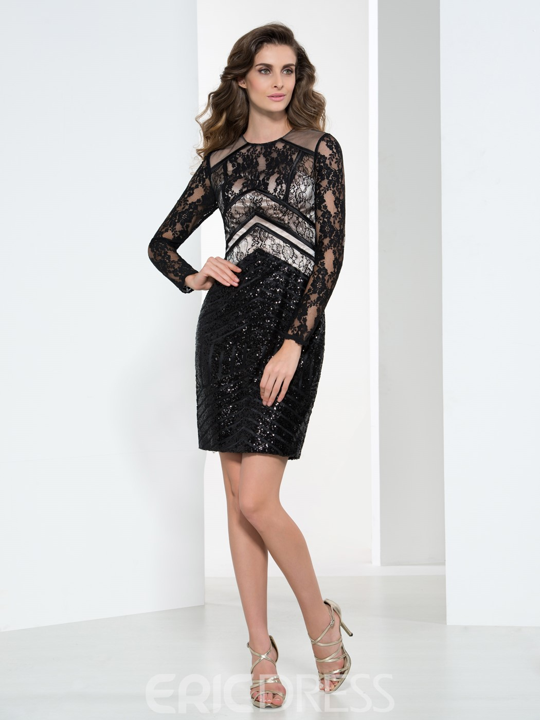 Ericdress Sheath Long Sleeves Appliques Sequins Cocktail Dress