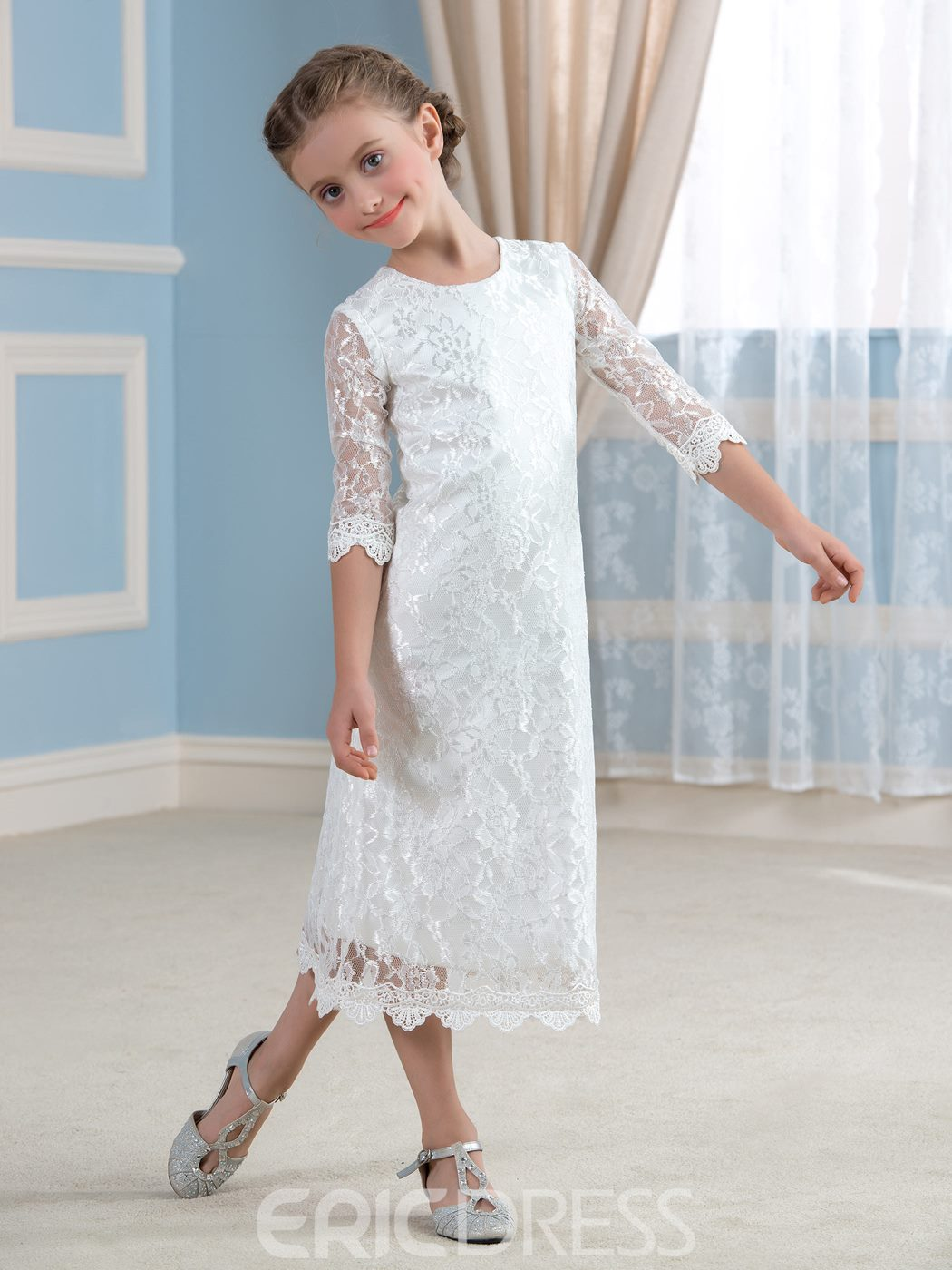 Ericdress Cute Jewel Half Sleeves Lace Flower Girl Dress