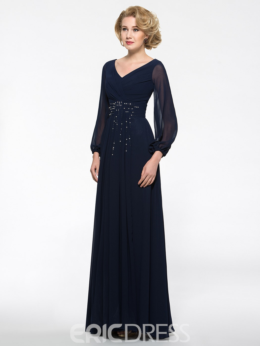 Ericdress Beautiful V Neck Long Sleeves Mother of the Bride Dress