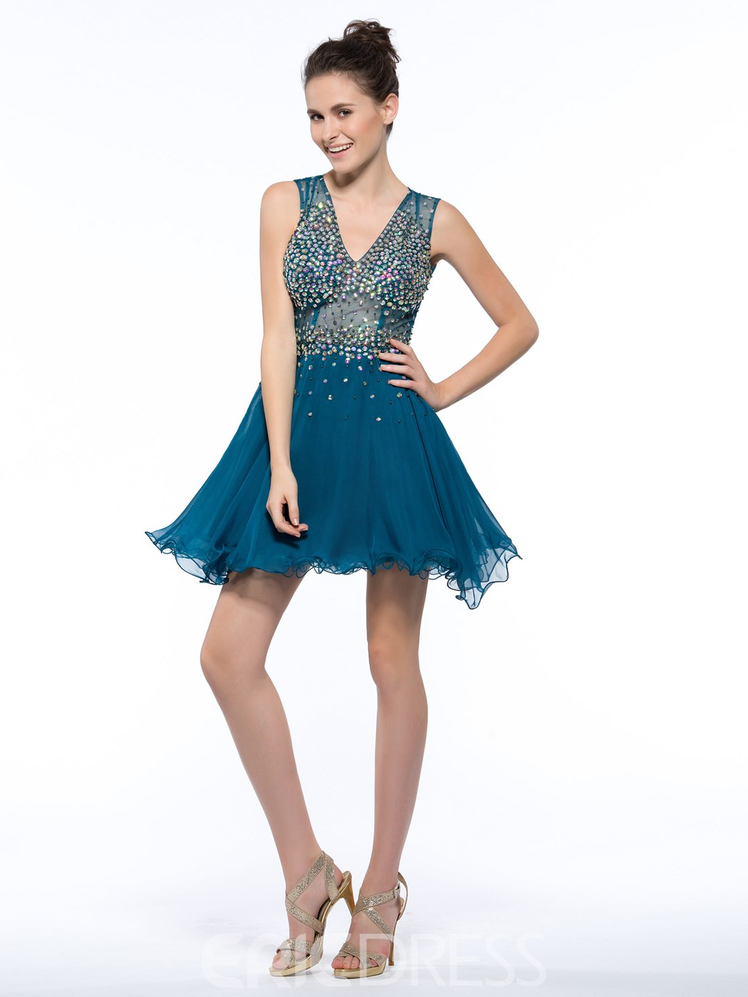 Ericdress V-Neck Beading Sequins Hollow Homecoming Dress