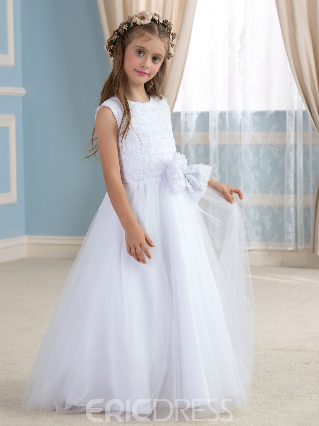 Ericdress Cute Jewel A Line Lace Bowknot Flowers Girl Dress