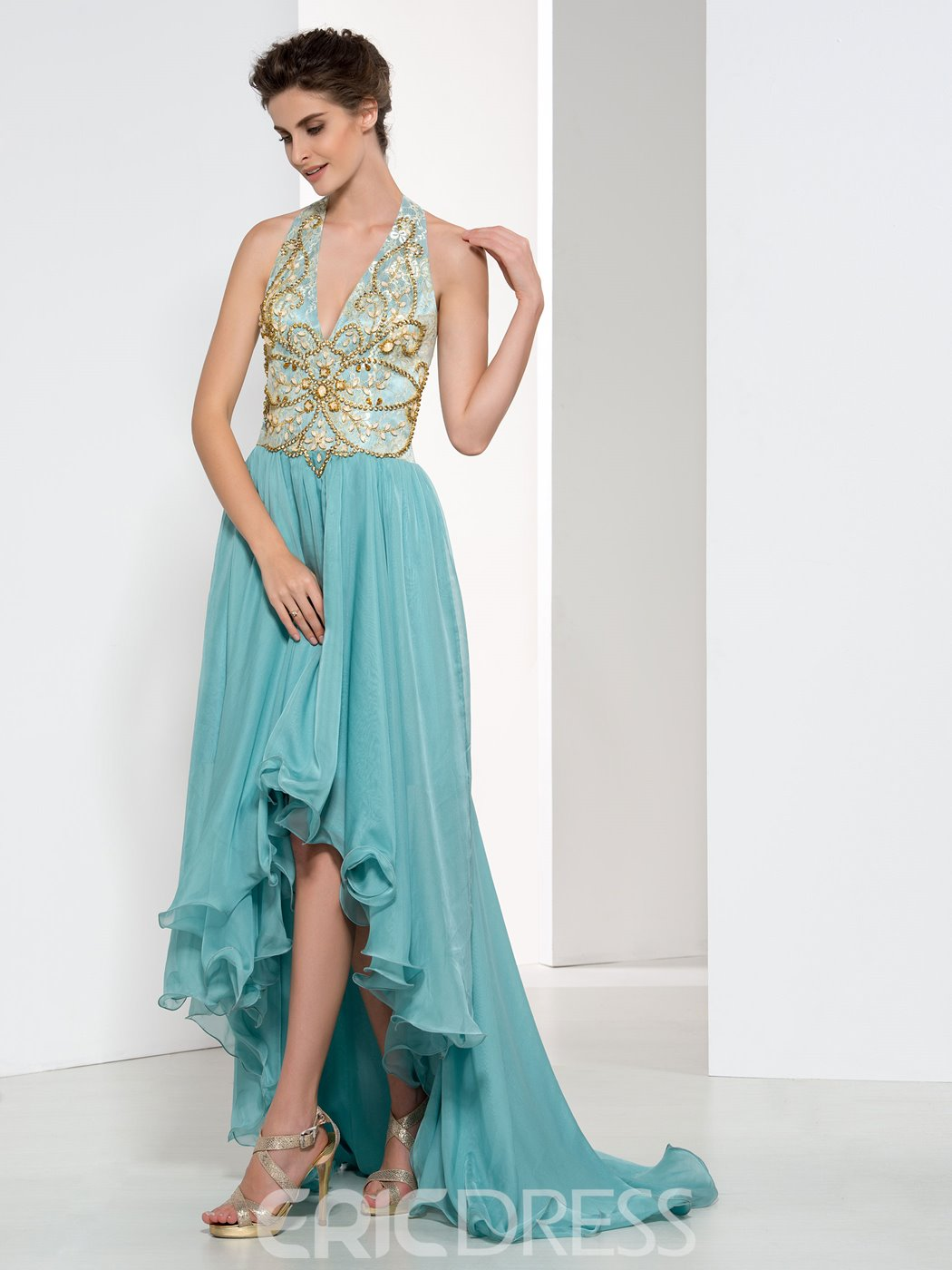 Ericdress Halter Beading Lace Asymmetry Evening Dress
