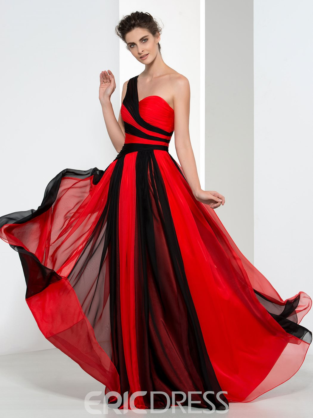Ericdress A-Line One Shoulder Pleats Evening Dress