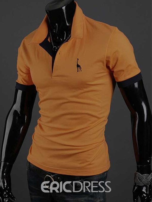 Ericdress Short Sleeve Giraffe Embroidery Casual Men's T-Shirt