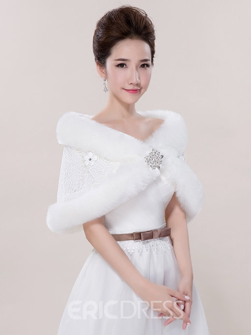 Ericdress Faux Fur Lace Wedding Wrap