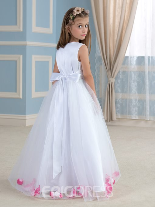 Ericdress A Line 3D Floral Sashes Flower Girl Dress