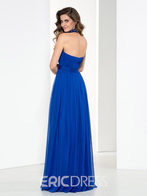 Ericdress Halter Beading Pleats Hollow Prom Dress