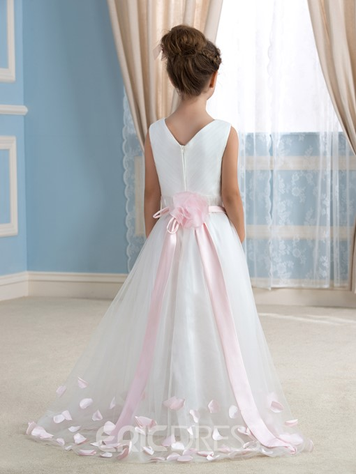 Ericdress Beautiful V Neck Flower Girl Dress