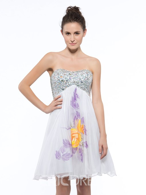 Ericdress Sweetheart Beading Sequins Print Homecoming Dress