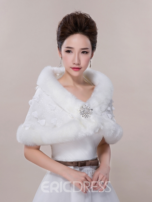 Ericdress Pretty Faux Fur Lace Wedding Wrap