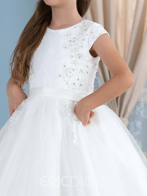 Ericdress Cap Sleeve Sequins Appliques Flower Girl Dress