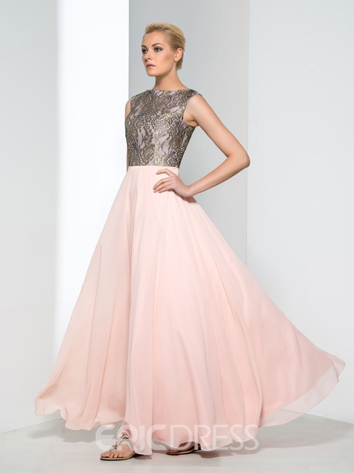 Ericdress A-Line Bateau Cap Sleeves Lace Evening Dress
