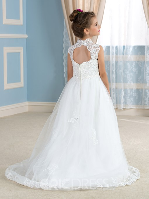 Ericdress High Neck Appliques Sequins Flower Girl Dress