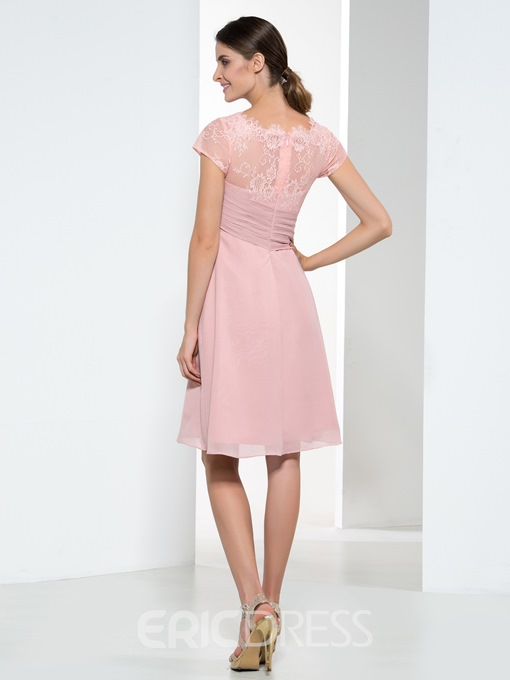 Ericdress Pretty Jewel Lace Short Sleeves Short Bridesmaid Dress
