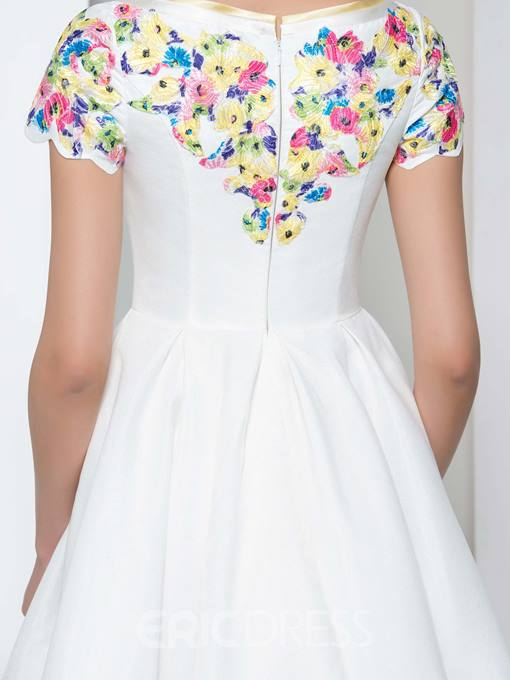 Ericdress V-Neck Appliques Tea-Length Prom Dress