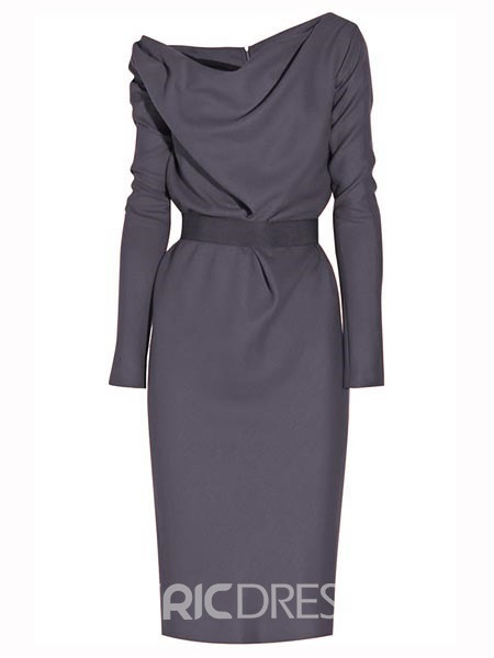 Ericdress Solid Color Long Sleeve Sheath Dress