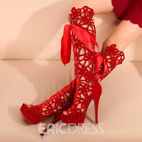 Ericdress Chic Style Hollow Peep-Toe Knee High Boots