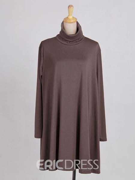 Ericdress Plain Turtleneck Loose Casual Dress
