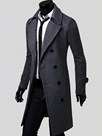 Ericdress Notched Lapel Double-Breasted Mid-Length Slim Men's Coat