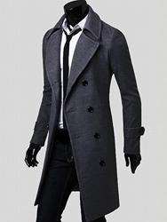 Ericdress Notched Lapel Double-Breasted Slim Mens Peacoat фото