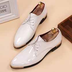 Ericdress Patent Leather Point Toe Lace up Mens Oxfords фото