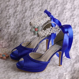 Ericdress Beautiful Peep-toe Pearls High Heel Wedding Shoes