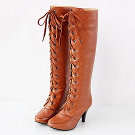 Ericdress Vintage Lace up Ritter Knie hohe Stiefel