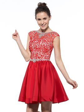 Ericdress Bateau Neck Beaded Sequins Lace Cocktail Dress