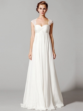 Ericdress Floor-Length Sweetheart Pleats Cap Sleeves Beach Wedding Dress