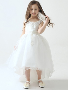 Ericdress Beautiful Scoop Asymmetry Flower Girl Dress