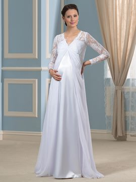 Ericdress Elegant V Neck Long Sleeves Maternity Dress