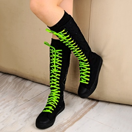 Ericdress Lae up Knee High Boots(6 Colorful Shoestrings)