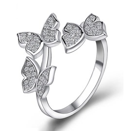 Ericdress Three Butterfly Diamante Silver Open Ring